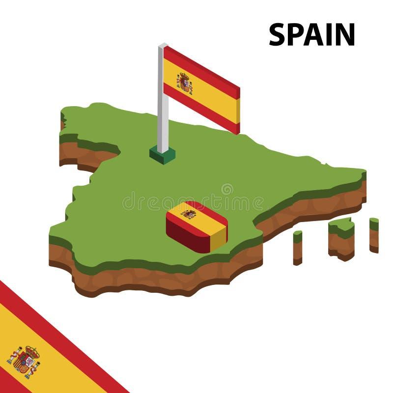 Informatie grafische Isometrische kaart en vlag van SPANJE 3d isometrische vectorillustratie royalty-vrije illustratie