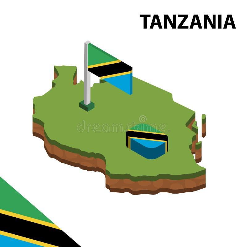 Informatie grafische Isometrische kaart en vlag van TANZANIA 3d isometrische vectorillustratie vector illustratie