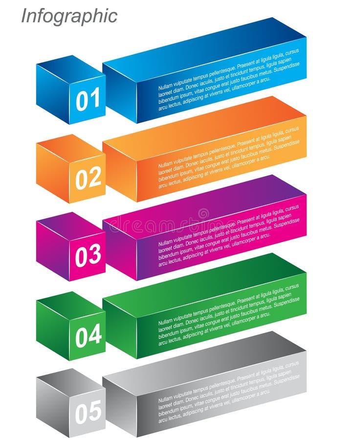 Informatie-grafische ontwerpmalplaatjes in de vorm van een 3D doos stock illustratie