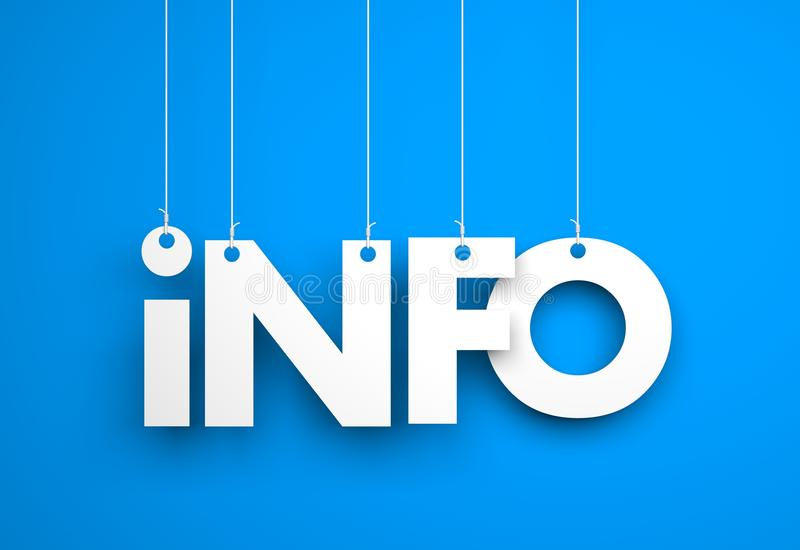 Informatie - het witte woord hangen over blauwe achtergrond vector illustratie