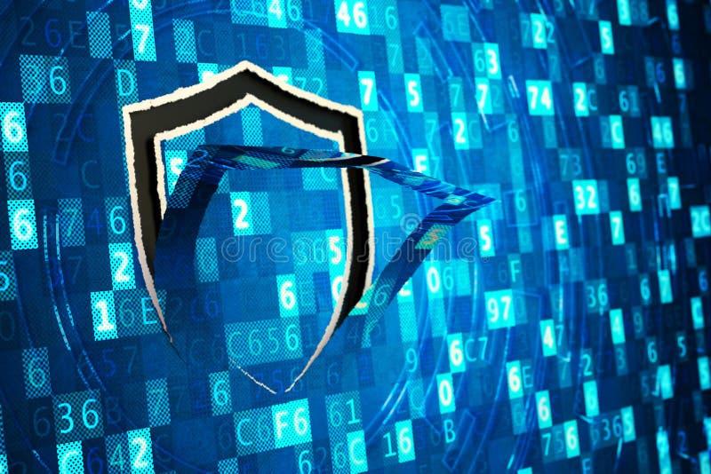 Informatiebeveiliging, computergegevensbescherming, netwerkfirewall en het binnendringen in een beveiligd computersysteem concept royalty-vrije stock foto