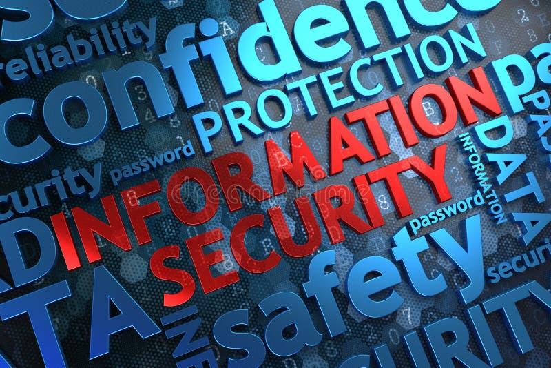 Informatiebeveiliging.  Wordcloudconcept. stock foto's