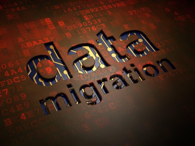 Informatieconcept: Gegevensmigratie op digitaal stock illustratie