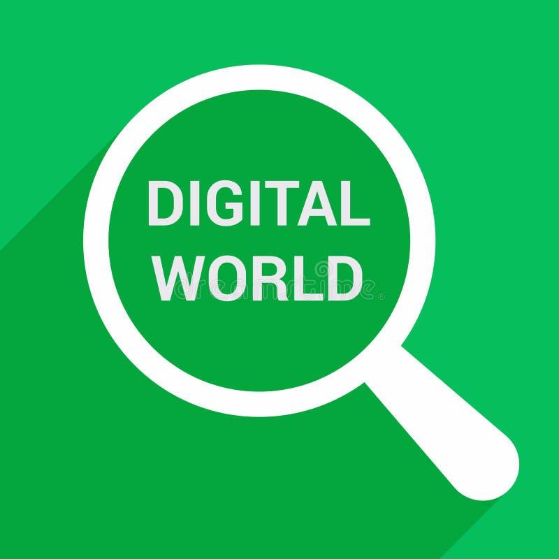 Informatieconcept: Het overdrijven van Optisch Glas met Woorden Digitale Wereld vector illustratie