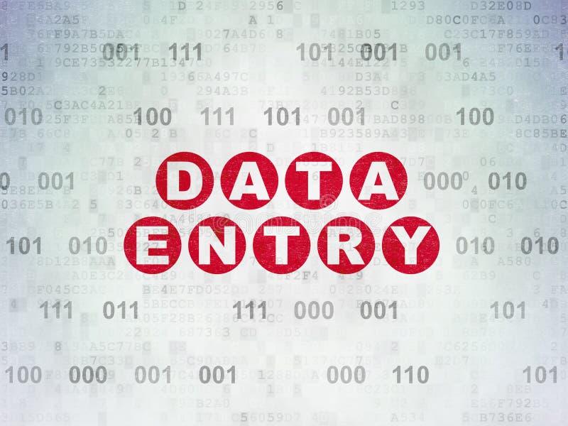 Informatieconcept: Invoer van gegevens op Digitale Gegevensdocument achtergrond vector illustratie