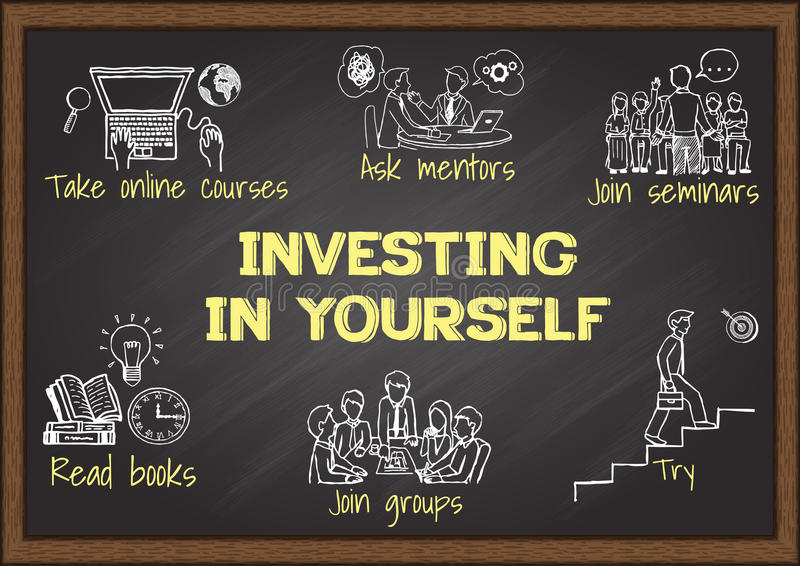 Informatiegrafiek op bord over het investeren in zich vector illustratie