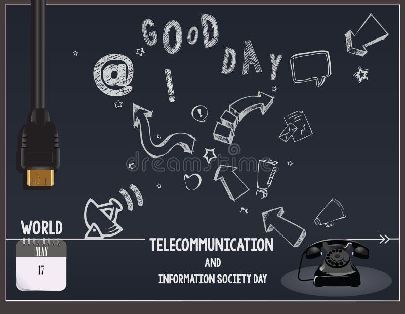 Informatiemaatschappij van de prentbriefkaartelecommunicatie Dag vector illustratie