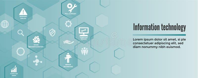Informatietechnologie de Banner van de Webkopbal met Moersleutel, Hersteller, stock illustratie