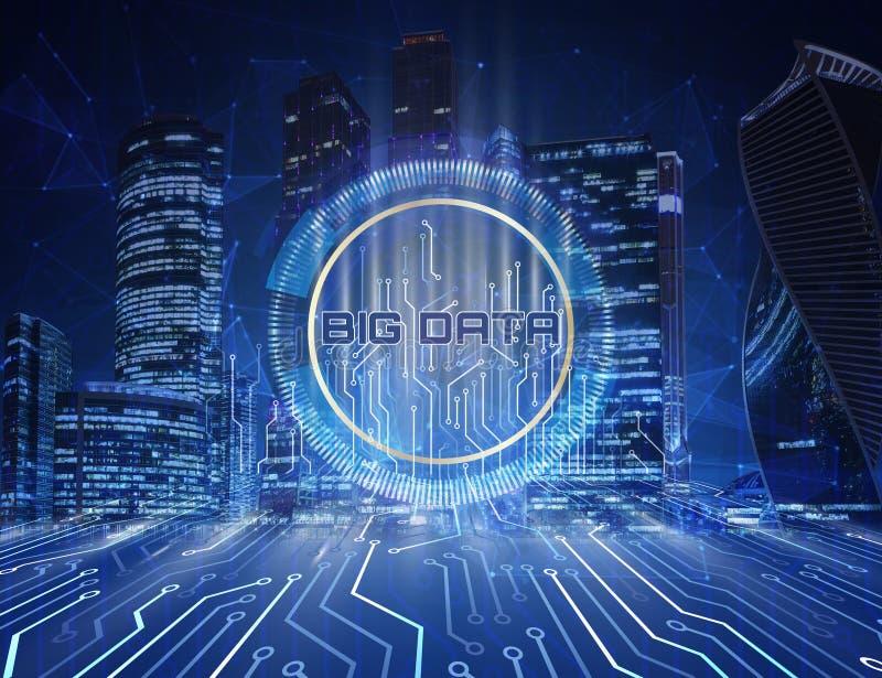 Informatietechnologie het concept grote gegevens Serverruimte met motherboard schakelaars, technologieachtergrond in het centrum stock illustratie