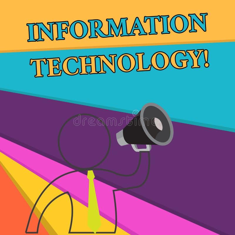 Informatietechnologie van de handschrifttekst Het concept die Op te slaan gebruikssystemen betekenen wint Transmit terug verzendt royalty-vrije illustratie