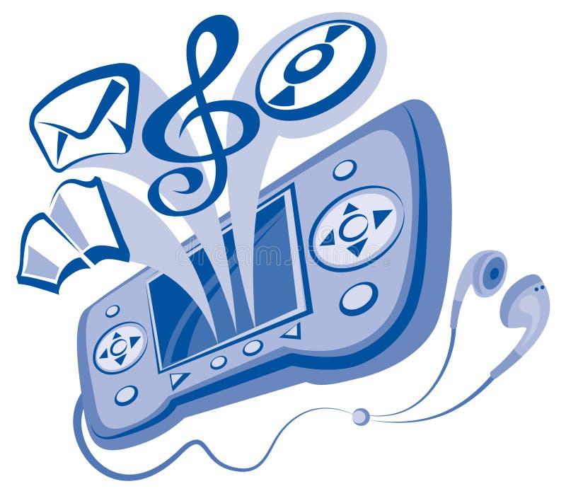 Informatieverspreider en oortelefoons stock illustratie