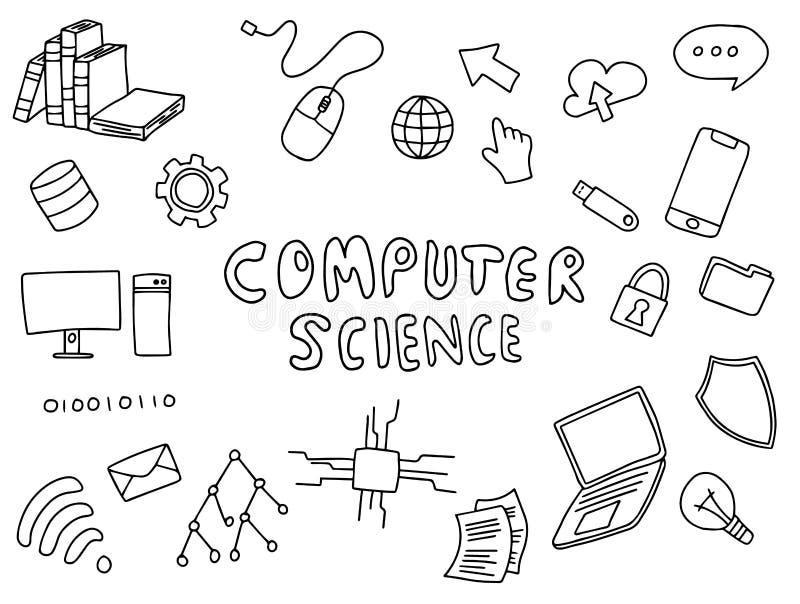 Informatik-Technikausbildungs-Gekritzelkunst mit Schwarzweiss-Farbentwurfsvektor stock abbildung