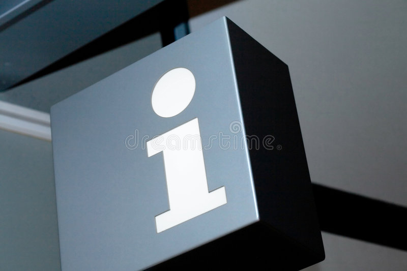 Information. A sign with the symbol for information