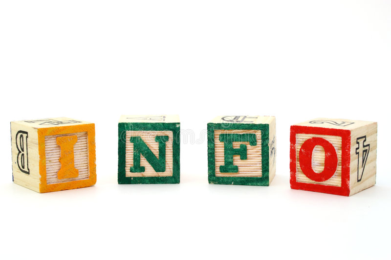 Information. Letter blocks forming the word info on a white surface royalty free stock photography