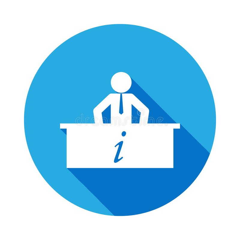 information agent with long shadow icon. Element of travel icon for mobile concept and web apps. Detailed information agent icon c vector illustration