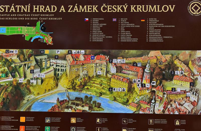 Information Board Castle Cesky Krumlov stock image
