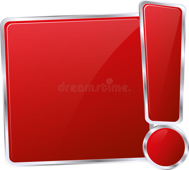 Information button. Red glossy metallic information button stock illustration