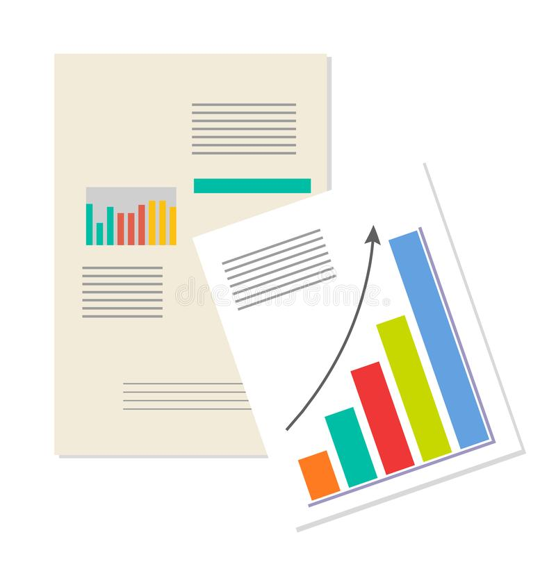 Information Charts, Business Analytics Banner. Growing arrow, vector illustration, colorful graph, strategy documents, planning and management charts vector illustration