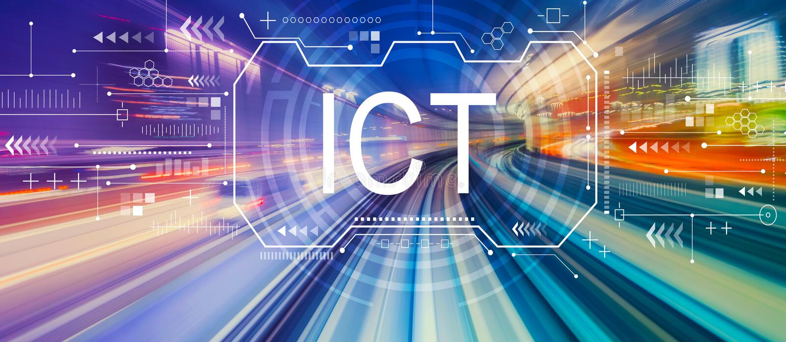 Information and communications technology with high speed motion blur. Information and communications technology with abstract high speed technology POV motion stock photo