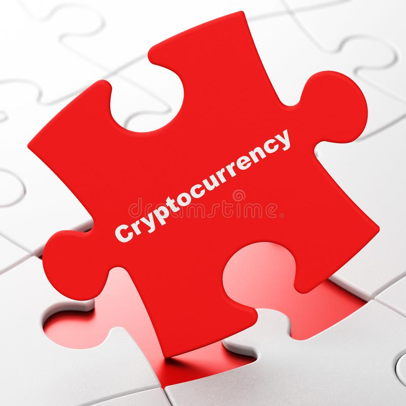 Information concept: Cryptocurrency on puzzle background. Information concept: Cryptocurrency on Red puzzle pieces background, 3D rendering stock illustration