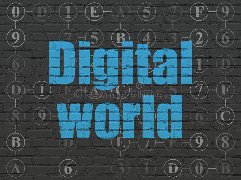 Information concept: Digital World on wall. Information concept: Painted blue text Digital World on Black Brick wall background with Scheme Of Hexadecimal Code vector illustration