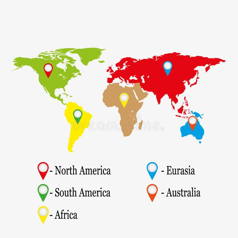 Information Continent Global World Map. Web icon. Vector illustration. Education concept stock illustration