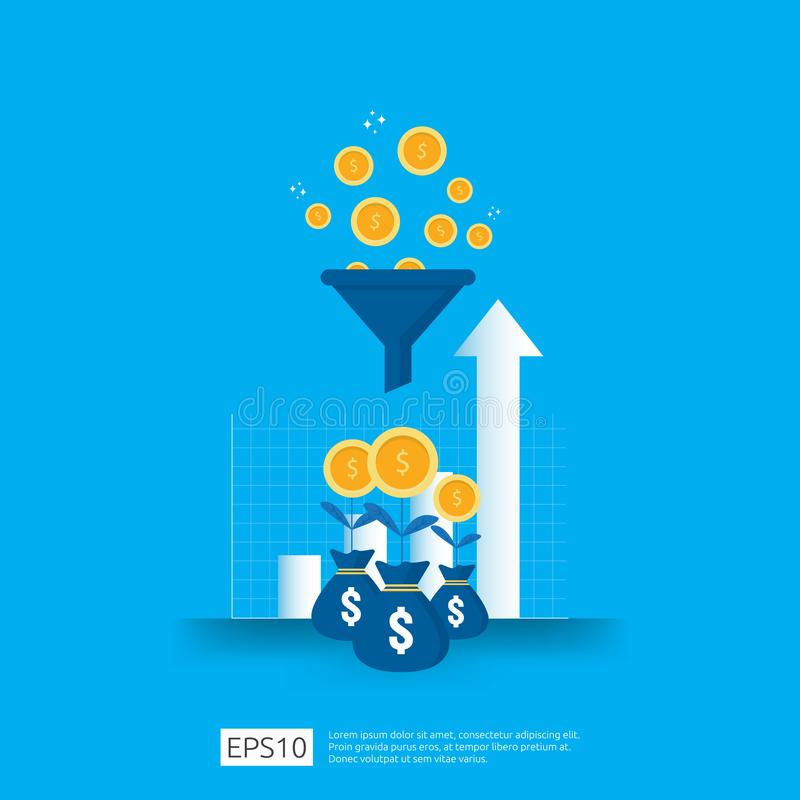 information data collection of filter concept with funnel, money, and graph object element. digital marketing analysis for stock illustration