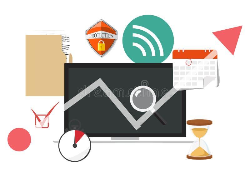 Information and development website statistic icon. Vector illus stock illustration