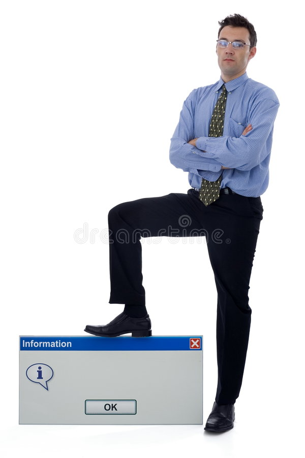 Information dialog. Businessman holding his foot on a big information dialog stock image