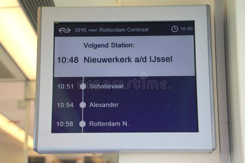 Information display in the SLT commuter train in the Netherlands with travel information for train heading to Nieuwerkerk aan den royalty free stock photography