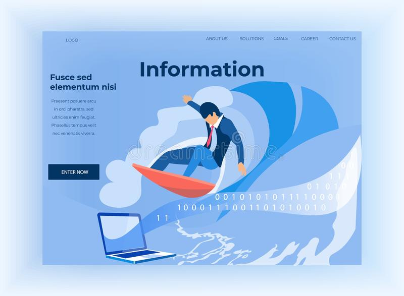 Binary Code and Information Flow Landing Page. Information Flow. Cartoon Businessman Surf through Computer Binary Code Stream. Data Analysis. Future Innovative stock illustration