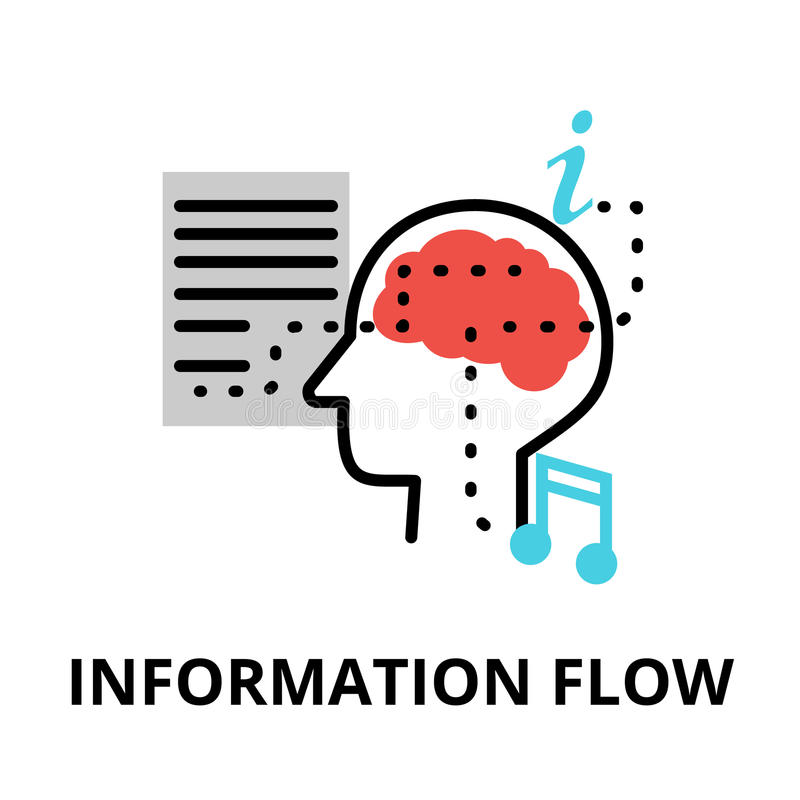 Information flow icon, flat thin line vector illustration. For graphic and web design stock illustration