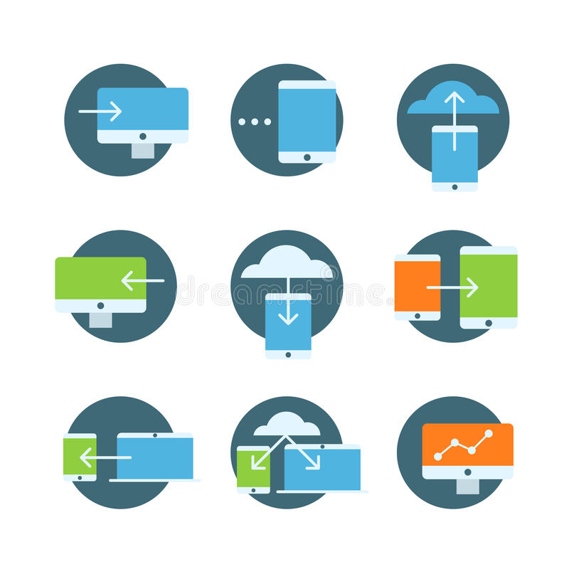 Information fransfer concept icons collection. Flat icons set isolated on white royalty free illustration