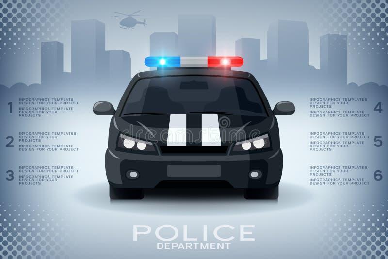Information-graphiques avec la voiture et les gratte-ciel de police génériques illustration de vecteur