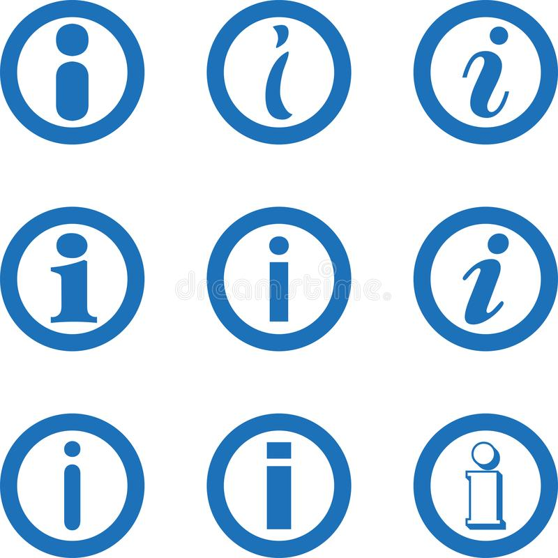 Information icon collection, info sign, letter icon, info icon collection stock illustration