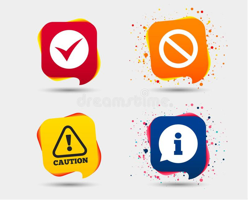 Information icons. Stop prohibition symbol. vector illustration