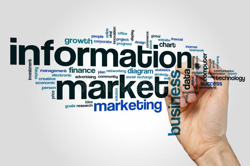 Information market word cloud. Concept stock image