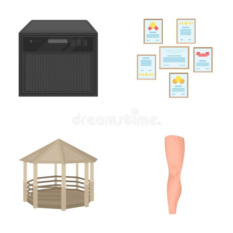Information, medicin, sporten och annan rengöringsduksymbol i tecknad film utformar kropp organ, underhållningsymboler i uppsättn vektor illustrationer