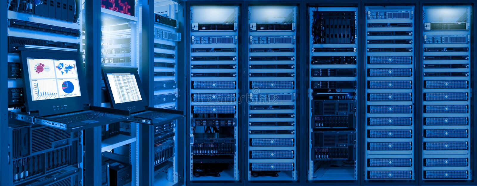 Information of network traffic and status of devices in data center room. Monitor show information of network traffic and status of devices in data center room stock photo
