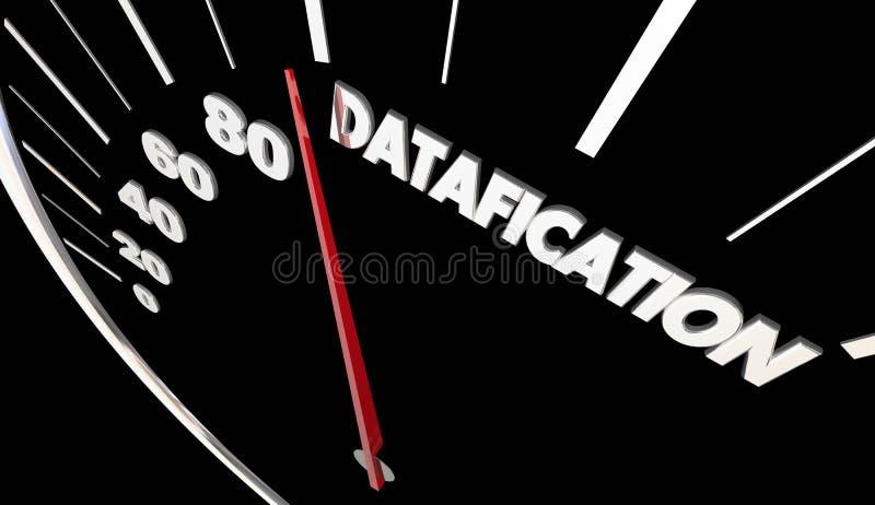 Information om Datafication hastighetsmätarevänd in i datainblickar 3d stock illustrationer