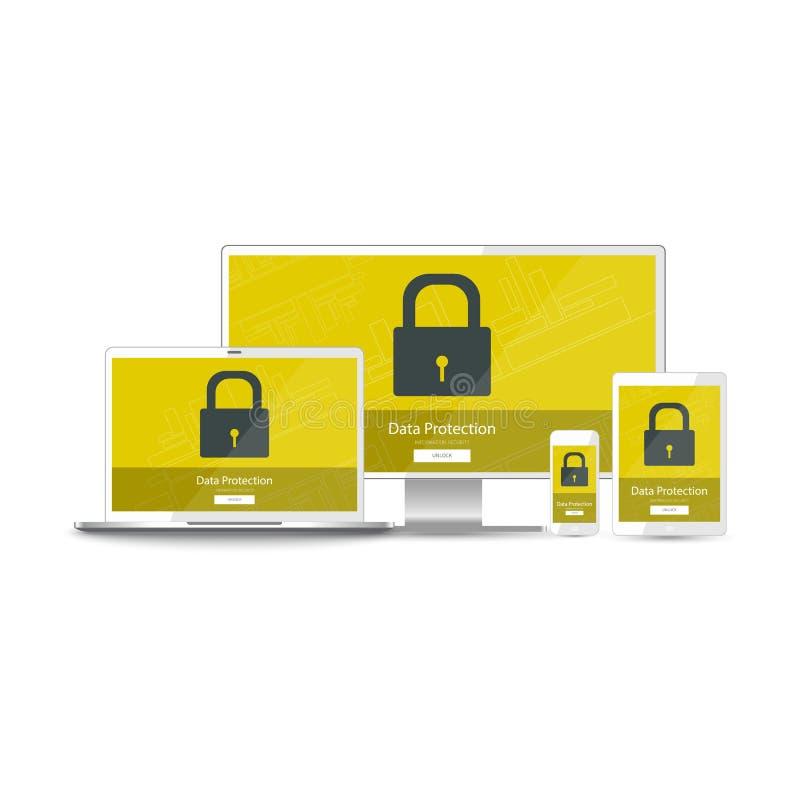 Information om dataskydd för alla dina apparater stock illustrationer