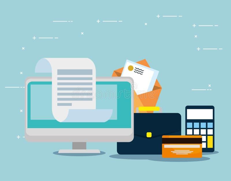 Information om dator med kreditkort- och bokstavsmeddelandet stock illustrationer