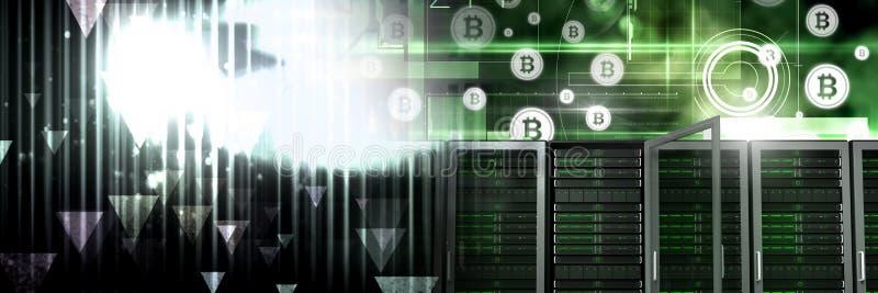 Information om datorserver- och bitcointeknologi har kontakt övergång vektor illustrationer
