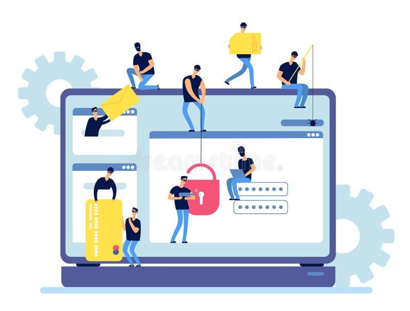 Information om en hackerstöld Cyberbrottslingar hackar personliga data från datoren Rengöringsduksäkerhet och en hackerinternetak stock illustrationer