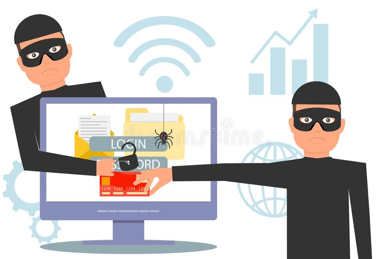 Information om en hackerstöld En hacker som stjäler pengar och personlig information En hacker låser information, stöld och brott royaltyfri illustrationer