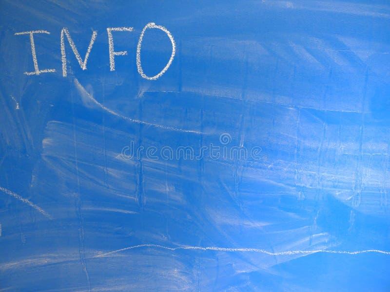 INFORMATION om förkortning som är skriftlig på en blått, förhållandevis smutsig svart tavla vid krita Lokaliserat i det övre väns arkivbilder