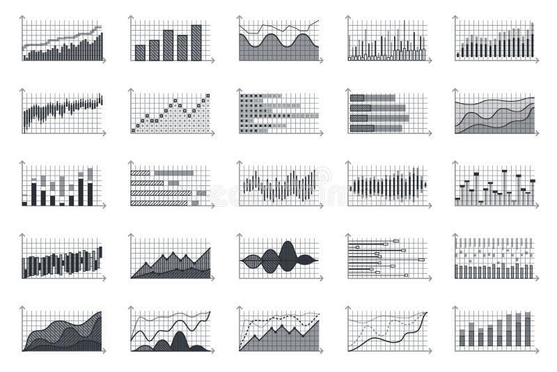 Information om finansmarknad graphs vektorn för diagrammet för tillväxt för begreppet för data för investeringen för valuta för a stock illustrationer