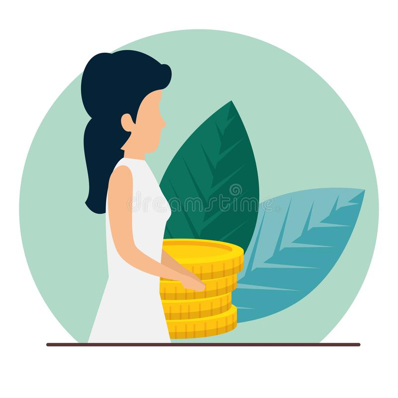 Information om kvinnaaffär med ccoins och sidor vektor illustrationer