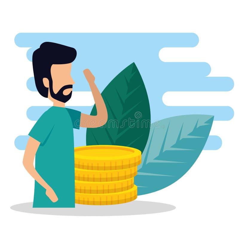 Information om manaffär med mynt och sidor stock illustrationer