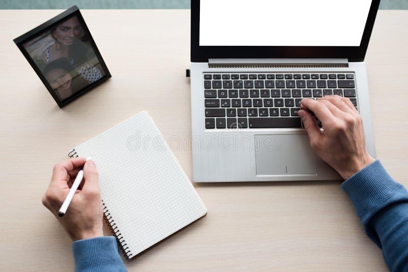 Information om organisatör för man för arbetsplanläggningsaffär royaltyfria bilder
